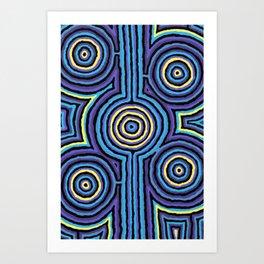 Authentic Aboriginal Art - Campsite Blue Art Print