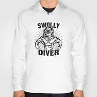 diver Hoodies featuring Swolly Diver by Kris Petrat Design