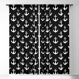 Anchors (White & Black Pattern) Blackout Curtain