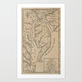 Vintage Map of The Chesapeake Bay (1769) Art Print