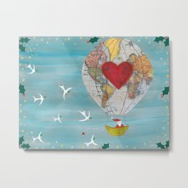 Christmas Santa Claus in a Hot Air Balloon for Peace Metal Print