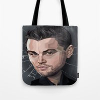 leonardo dicaprio Tote Bags featuring DiCaprio Caricature by Stevie Ray Thompson