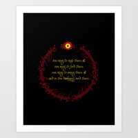 lord of the ring Art Prints featuring The Lord Of The Rings - The One Ring by Lunil