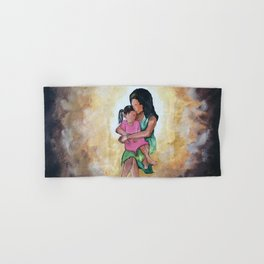 Oil painting of a mother carrying her child and hugging her tight. Hand & Bath Towel