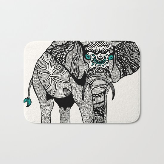 Tribal Elephant Black and White Version Bath Mat