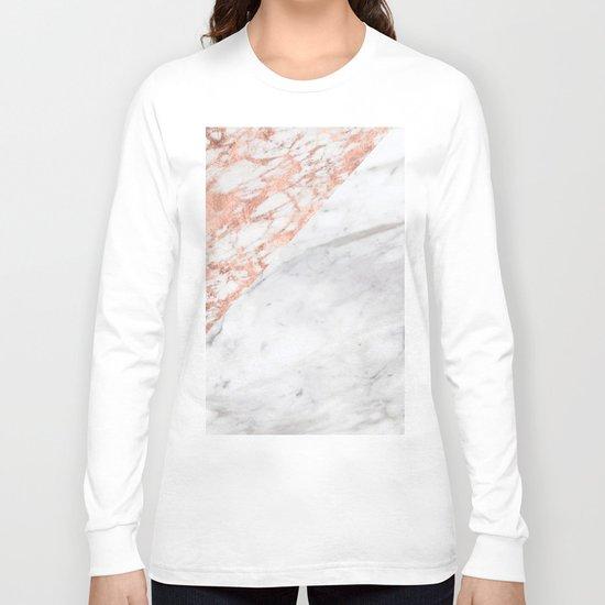 Massarosa Marchionne Bianco rose gold marble Long Sleeve T-shirt