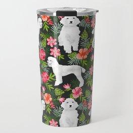 White Poodle floral hawaiian tropical dog breed dogs pet friendly pet art pattern Travel Mug
