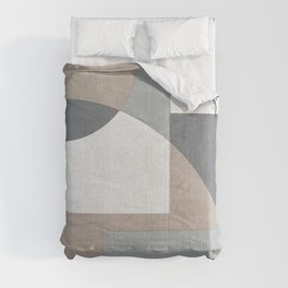 Geometric Intersecting Circles and Rectangles in Neutral Colors Comforters