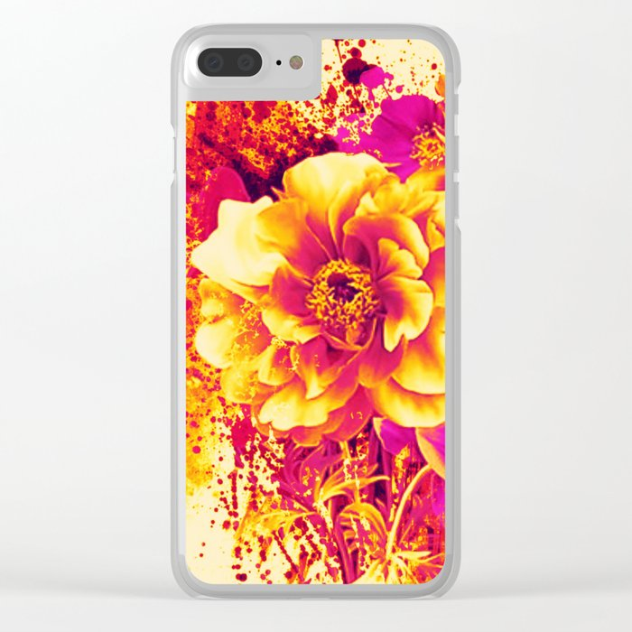 splash flowers Clear iPhone Case