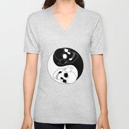 Yin Yang Skull Skeleton Black White Harmony Gift Unisex V-Neck