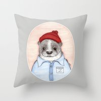 steve zissou Throw Pillows featuring Steve Zissou by Indi Maverick