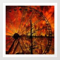 ferris wheel Art Prints featuring Ferris wheel by  Agostino Lo Coco