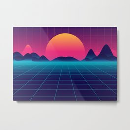 Synthwave Space: Sunset Metal Print