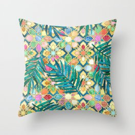 Gilded Moroccan Mosaic Tiles with Palm Leaves Throw Pillow
