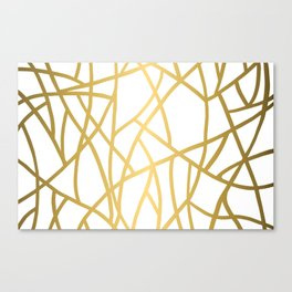Abstract Triangles - Gold + White Canvas Print