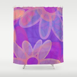 FIORI bright jumbo floral abstract in vivid pink purple blue Shower Curtain
