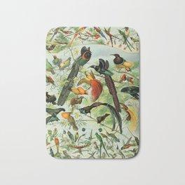 """Adolphe Millot """"Oiseaux"""" Tropical Birds Nouveau Larousse 1905 Bath Mat"""