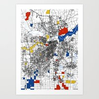 kansas city Art Prints featuring Kansas City  by Mondrian Maps