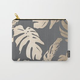 Simply Tropical Palm Leaves White Gold Sands on Storm Gray Carry-All Pouch