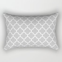 White Moroccan Quatrefoil On Silver Gray Rectangular Pillow