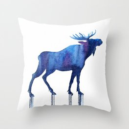 moose and stars Throw Pillow