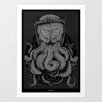 cthulu Art Prints featuring The Octopus KIng by StinkBrain