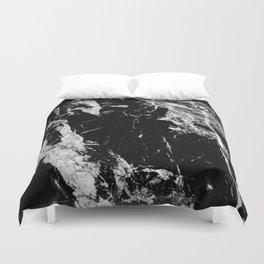 Dark marble black white stone1 Duvet Cover