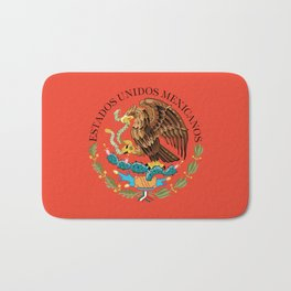 Mexican Flag seal on orange red background Bath Mat