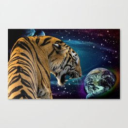 Galaxy Tiger and Space Canvas Print