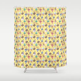 Colorful And Sweet Ice Creams on Yellow Background Shower Curtain