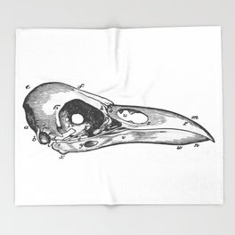 Crow skull Throw Blanket