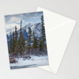 Pines at the edge of a lake in Jasper National Park Stationery Cards