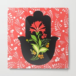 Hamsa Hand  Red & Green Floral Eye Indian Buddha Ganesh Metal Print