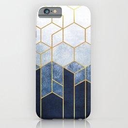 Indigo Blue + Golden Hexagons Abstract Design iPhone Case