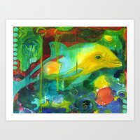 dolphin Art Prints featuring Dolphin by Silke Powers