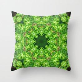 Spring green Canadian Hemlock mandala Throw Pillow