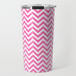 Creamy Pink and White Chevron Travel Mug