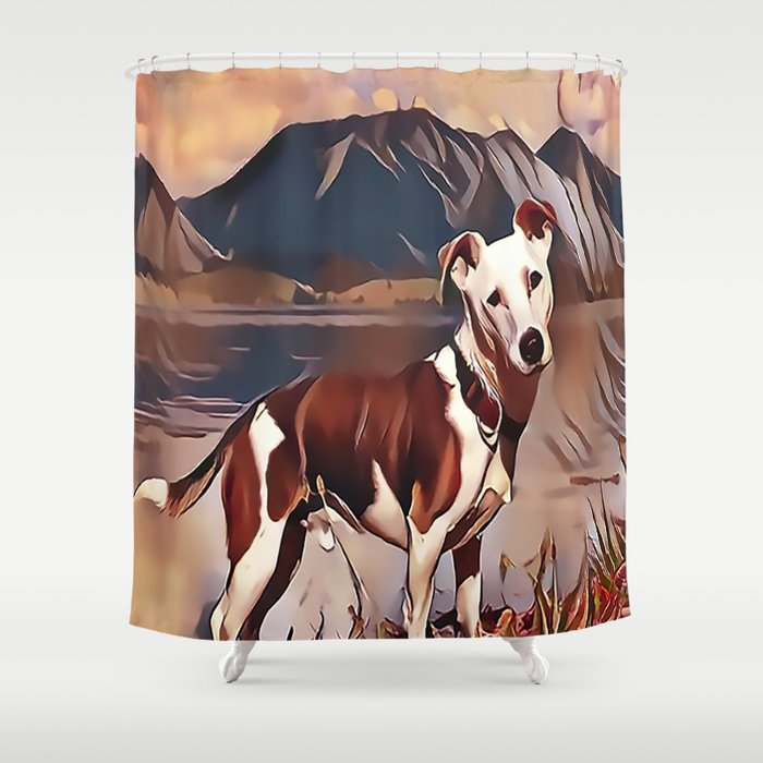 Hunting Dog by the Lake Shower Curtain
