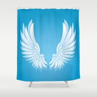 angel wings Shower Curtains featuring wings by Li-Bro