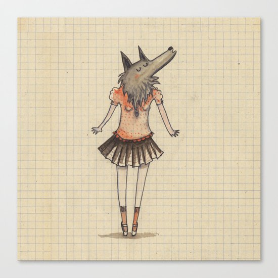 Woman Wolf at school Canvas Print
