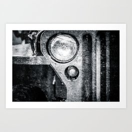 Vintage Military Car Black White Art Print