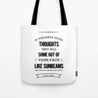 roald dahl Tote Bags featuring Roald Dahl quote  by Dickens ink.