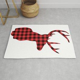 Red and Black Plaid Deer Head Rug