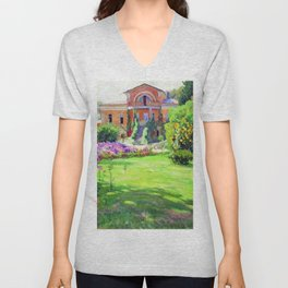 Tuscany Villa, Italy in Summer with Flowers and Sunflowers by Sergei Vinogradov Unisex V-Neck