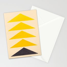 Colorful Ombre Yellow Geometric Triangle Pattern Stationery Cards