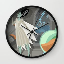 undead bride on secret laboratory Wall Clock