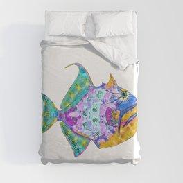 Tropical Trigger Fish - Colorful Beach Art - Sharon Cummings Duvet Cover