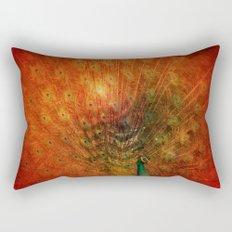 Peacock in Red Rectangular Pillow