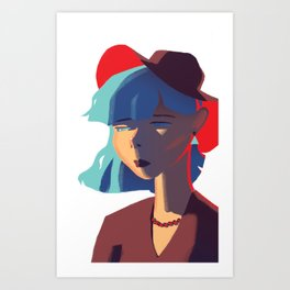 Girl Wearing a Red Hat Art Print