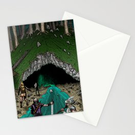 Party Approaching Cave Stationery Cards